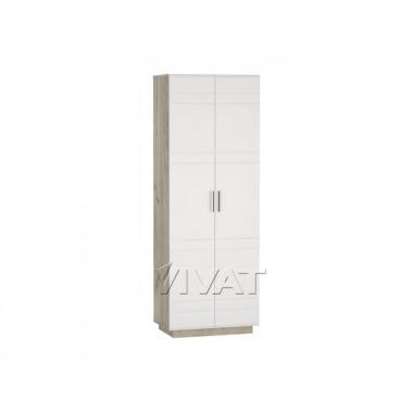 Шкаф платяной двухстворчатый Глейс ШК-202 МДФ Белый глянец/Дуб серый
